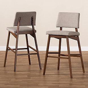 Colton Mid-Century Modern Light Gray Fabric Upholstered and Walnut-Finished Wood Bar Stool Set, Beige, large