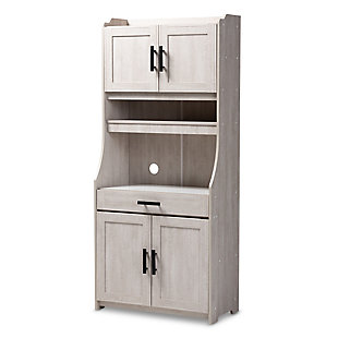 Portia 6-Shelf White-Washed Wood Kitchen Storage Cabinet, , rollover
