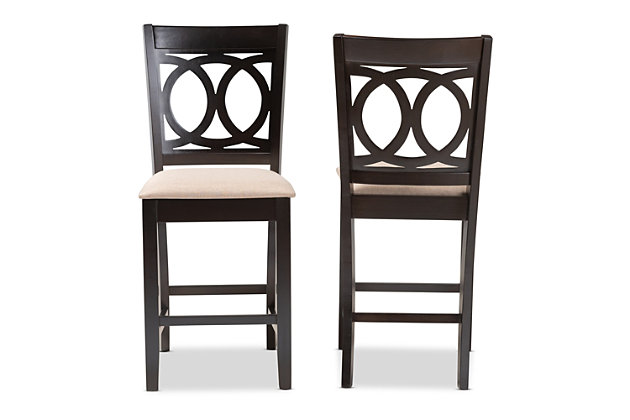 Lenoir Sand Fabric Upholstered Espresso Brown Finished Wood Counter Height Pub Chair Set, Espresso, large