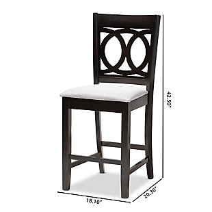 Lenoir Gray Fabric Upholstered Espresso Brown Finished Wood Counter Height Pub Chair Set, Gray, large