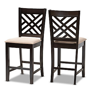Caron Sand Fabric Upholstered Espresso Brown Finished Wood Counter Height Pub Chair Set, Espresso, large