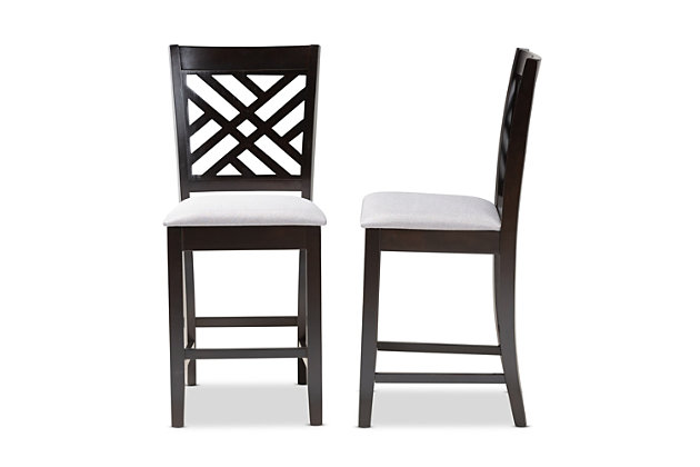 Caron Gray Fabric Upholstered Espresso Brown Finished Wood Counter Height Pub Chair Set, Gray, large