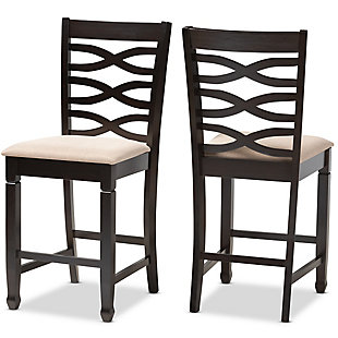 Lanier Sand Fabric Upholstered Espresso Brown Finished Wood Counter Height Pub Chair Set, Espresso, large
