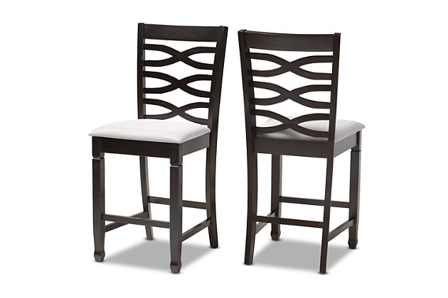 Lanier Gray Fabric Upholstered Espresso Brown Finished Wood Counter Height Pub Chair Set, Gray, large