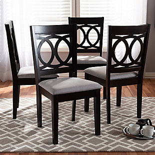 Lenoir Gray Fabric Upholstered Espresso Brown Finished Wood Dining Chair, Gray, rollover