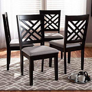 Caron Gray Fabric Upholstered Espresso Brown Finished Wood Dining Chair, Gray, rollover