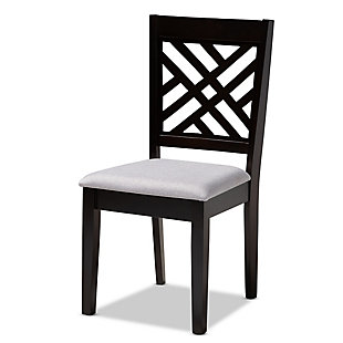 Caron Gray Fabric Upholstered Espresso Brown Finished Wood Dining Chair, Gray, large