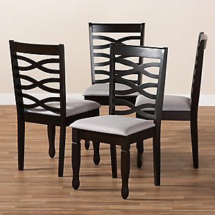 Lanier Gray Fabric Upholstered Espresso Brown Finished Wood Dining Chair, Gray, rollover