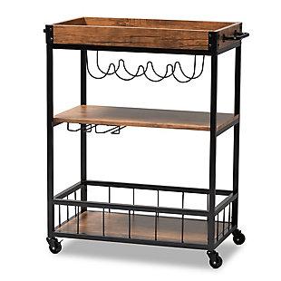 Cerne Vintage Rustic Industrial Oak Brown and Black Finished Mobile Metal Bar Cart with Wine Bottle Rack, , large