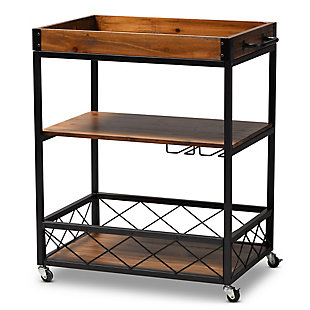 Capri Vintage Rustic Industrial Oak Brown and Black Finished Mobile Metal Bar Cart with Stemware Rack, , large