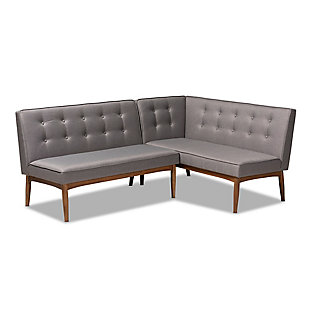 Arvid Mid-Century Modern Gray Fabric Upholstered 2-Piece Wood Dining Corner Sofa Bench, , rollover