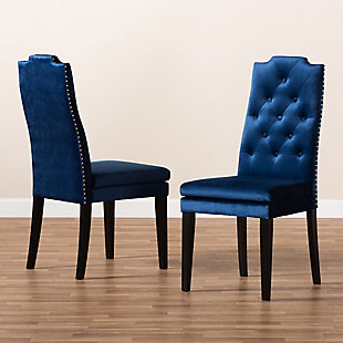 Dylin Royal Blue Velvet Fabric Upholstered Button Tufted Wood Dining Chair Set, Blue, rollover