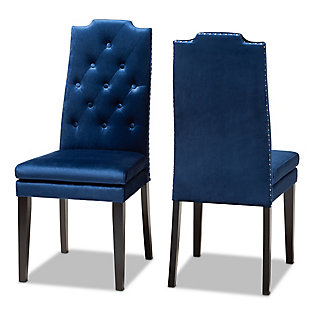 Dylin Royal Blue Velvet Fabric Upholstered Button Tufted Wood Dining Chair Set, Blue, large