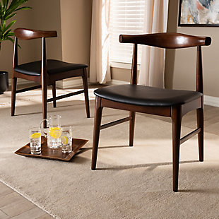 Eira Mid-Century Modern Black Faux Leather Upholstered Walnut Finished Wood Dining Chair Set, , rollover