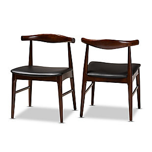 Eira Mid-Century Modern Black Faux Leather Upholstered Walnut Finished Wood Dining Chair Set, , large