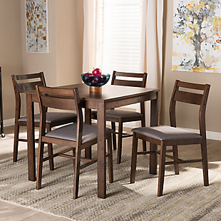 Lovy Gray Fabric Upholstered Dark Walnut-Finished 5-Piece Wood Dining Set, Gray, rollover
