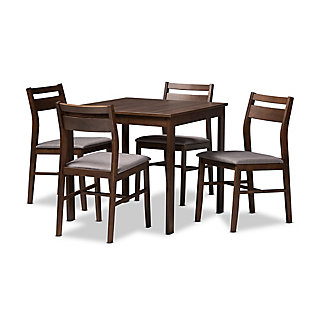 Lovy Gray Fabric Upholstered Dark Walnut-Finished 5-Piece Wood Dining Set, Gray, large