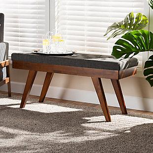 Alona Mid-Century Modern Medium Gray Fabric Upholstered Wood Dining Bench, Gray, rollover