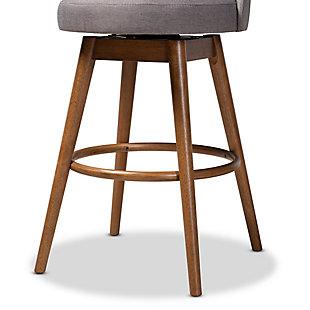 Carra Mid-Century Modern Gray Fabric Upholstered Walnut-Finished Wood Swivel Bar Stool Set, Gray, large