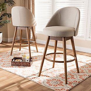 Carra Mid-Century Modern Light Beige Fabric Upholstered Walnut-Finished Wood Swivel Bar Stool Set, Beige, rollover