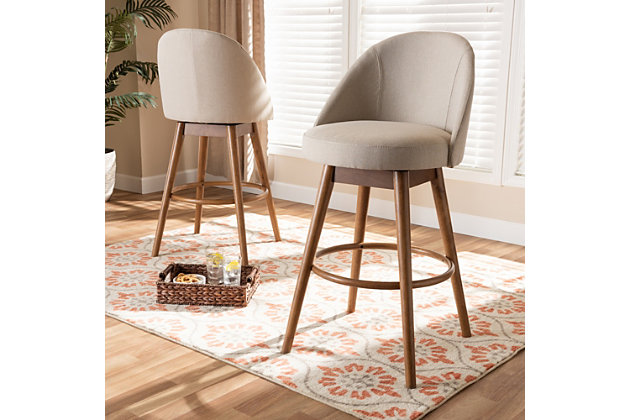 Carra Mid-Century Modern Light Beige Fabric Upholstered Walnut-Finished Wood Swivel Bar Stool Set, Beige, large
