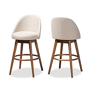 Carra Mid-Century Modern Light Beige Fabric Upholstered Walnut-Finished Wood Swivel Bar Stool Set, Beige, large