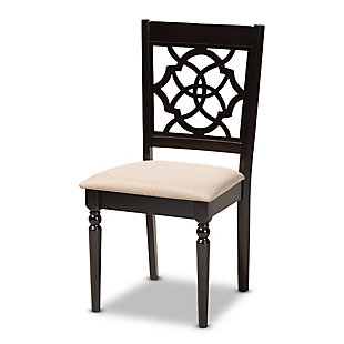 Renaud Sand Fabric Upholstered Espresso Brown Finished Wood Dining Chair, Espresso, large