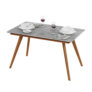 Redang Dining 4-Leg Rectangular Smart Top Table, Cement, Light Gray, rollover