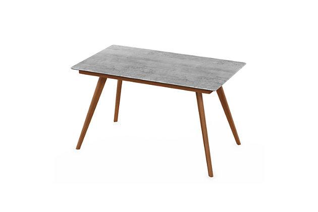 Redang Dining 4-Leg Rectangular Smart Top Table, Cement, Light Gray, large