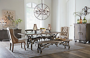 Anderson  Iron Dining Chairs with Wood Seats (Set of 2), , rollover