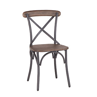 Anderson  Iron Dining Chairs with Wood Seats (Set of 2), , large