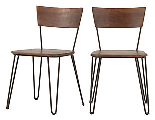 Grandby Acacia Wood Walnut Dining Chairs (Set of 2), , rollover