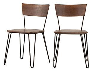 Grandby Acacia Wood Walnut Dining Chairs (Set of 2), , large