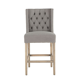 Chloe Gray Linen Counter Chair with Napoleon Legs, , large