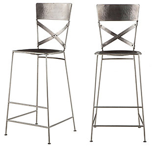 Artezia  Antique Nickel Hammered Iron Bar Chairs (Set of 2), , large