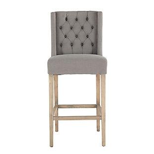 Chloe  Gray Linen Bar Chair with Napoleon Legs, Light Gray, rollover