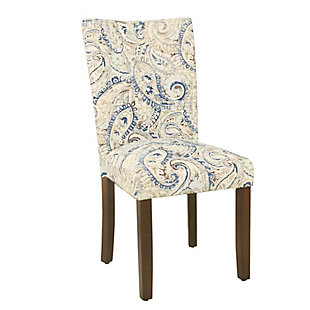 Classic Parsons Dining Chair - Blue Velvet Paisley Print (Set of 2), , large