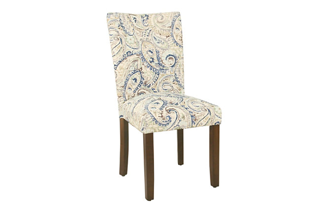 Classic Parsons Dining Chair Blue Velvet Paisley Print Set Of 2 Ashley Furniture Homestore