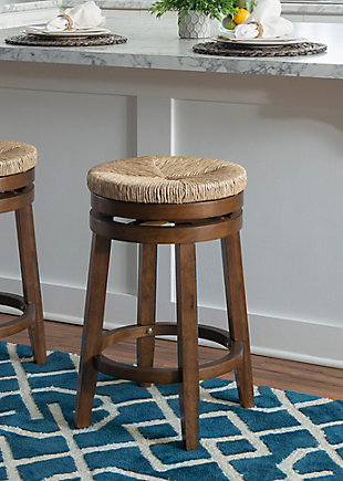 Layne Walnut Swivel Counter Stool, Brown, rollover