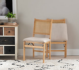 Western Rattan Cane Beige Folding Dining Side Chair, , rollover