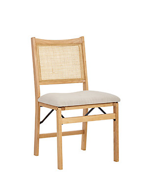 Western Rattan Cane Beige Folding Dining Side Chair, , large