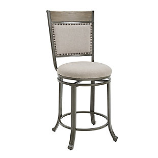 Owens Pewter Swivel Counter Stool, Gray, large