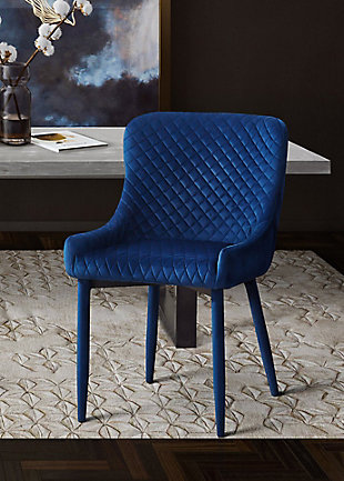 Draco Draco Navy Velvet Chair, Blue, rollover