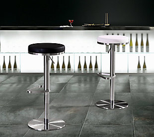 Fano Fano White Steel Adjustable Barstool, White/Chrome, rollover