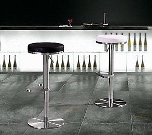 Fano Fano White Steel Adjustable Barstool, White/Chrome, rollover