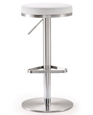 Fano Fano White Steel Adjustable Barstool, White/Chrome, large