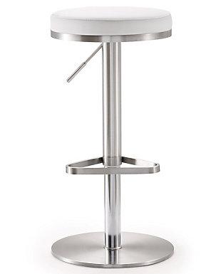 Fano Fano White Steel Adjustable Barstool, White/Chrome, large