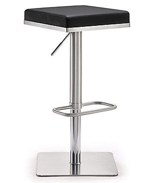 Bari Bari Black Steel Adjustable Barstool, Black/Chrome, large