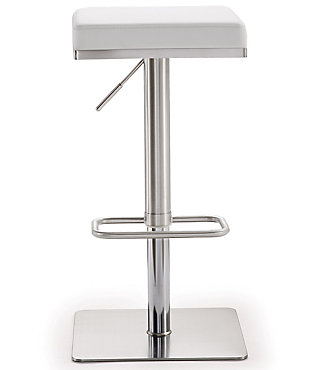 Bari Bari White Steel Adjustable Barstool, White/Chrome, large