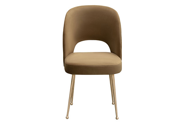 Swell Swell Cognac Velvet Chair, Brown/Gold, large